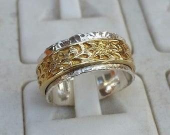 Spinner Ring, Silver And Gold Spinner Ring, Sterling Silver Ring, Gold Spinner Wedding Band, 14k Gold Ring, Flower Textured Spinner Ring