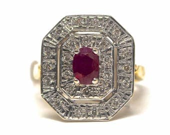 FRENCH ANTIQUE Art Deco 18K Yellow Gold Diamond Ruby Octagon Ring