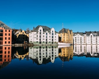Alesund, Norway - Buildings Reflection Photo || Fine Art Photography