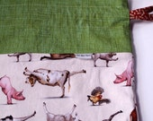Farm Animal Yoga drawstring bag with cotton fabric ties for knitting & craft projects (enormous)