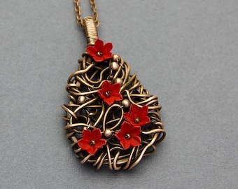 Wire wrapped pendant necklace Copper pendant Wire wrap Copper jewelry wirewrap pendant Red flowers