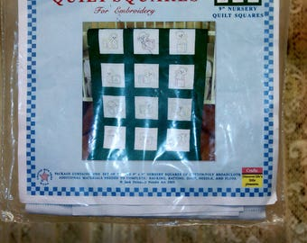 Twelve Vintage Nursery Friends 9″ Quilt Squares Not Embroidered and With everything You Need