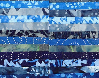 "Island Batik Tinsel Blue Christmas Winter Batiks Jelly Roll Strips Pack 40 2.5"" Strips of Fabric"