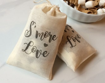 Stamped, S'more Love Wedding Favor Muslin Bags -set of 50