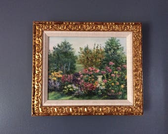Small Oil Painting, Floral Impressionist Garden Painting, Gold Frame, Small Original Art