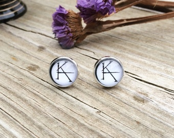 KA ( The Dark Tower/Gunslinger ) Silver And Glass Stud Earrings