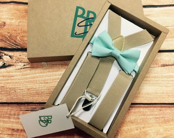 Little Boys Bow Tie and Suspender Set - Tan and Mint