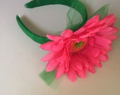 Watermelon pink Gerber Daisy Headband with Emerald green tulle one of a kind