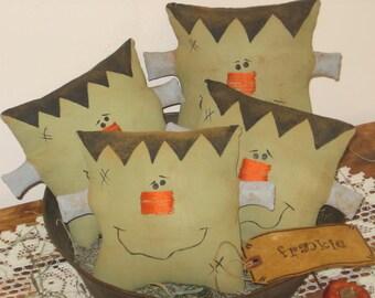 Frankenstein Square Head-PATTERN Primitive Country Halloween Frankenstein Cloth Craft Sewing Pattern