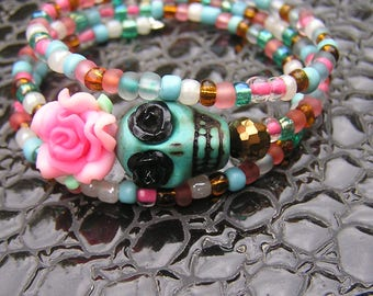 Day of the Dead Bracelet Wrap Around pink flower black roses teal skull sugar skull 3 loop memory wire