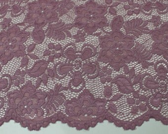 Mauve 58'' Caroline Floral Scalloped Nylon Stretch Lace Fabric by the Yard- Style 686