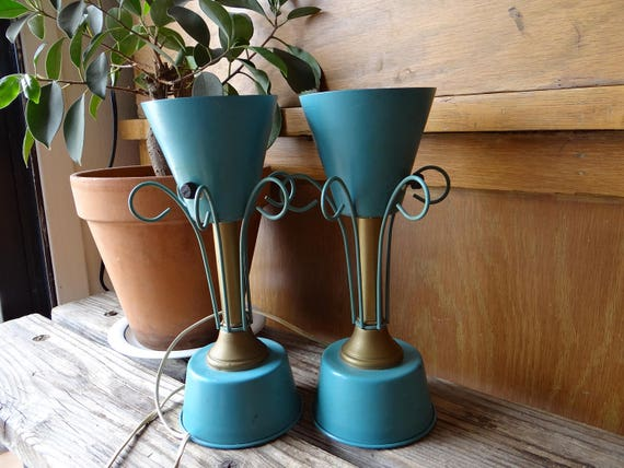 VTG Pair of 50s Metal Aqua Atomic Style Night Lamps