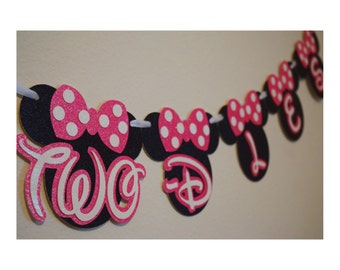 Minnie Mouse Oh Toodles Banner ; Twodles ; Disney Happy Birthday Banner ; Mickey Mouse Birthday Banner ; Mickey Mouse Clubhouse