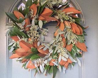 "Seeded Euc & Magnolia Wreath- 20"""