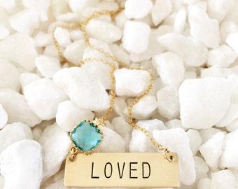 LOVED Stamped Brass Valentine Bar Nameplate Hearts Custom