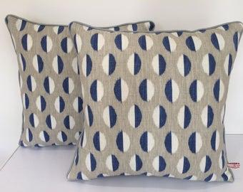 Retro print linen cotton cushion pillow cover - Sandersons Ellipse Blue Grey White