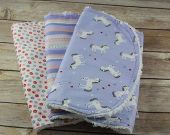 Unicorn Burp Cloths - Burp Cloths Girl - Lavender Unicorn Burp Cloth - Baby Gift - Chenille Burp Cloth