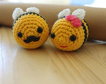 Mr and Mrs Bees - Crochet bee - cake topper