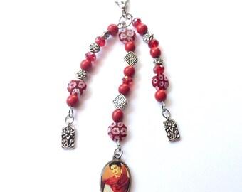 Frida Kahlo purse charm/keychain, Frida Kahlo zipper pull