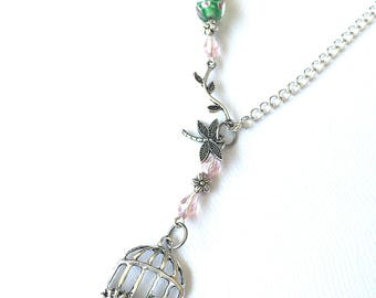 Pink/ green beaded necklace, birdcage pendant necklace