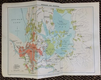 1909 Srinigar Vintage Map [8.4 x 6.4 in.] India, Dal, Indus, Anchar Lakes