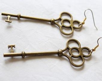 """Dangling earrings. """"Big bronze Keys"""""""