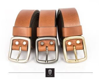 High quality handmade brown leather belt, 35mm wide full grain cow leather belt with solid brass buckles available in 3 colours