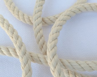 "50' (15 m) 100% Cotton Rope, Natural (White), 3 Strand, 1/4"" (6 mm)"