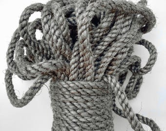 """5' (1.5 m) Gray Sisal Rope, Silver Sisal Rope, Dyed Pewter Color, 1/4"""" or 3/8"""" or 1/2"""" (6 mm, 9 mm or 12 mm)"""