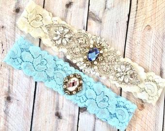Rhinestone garter set, Crystal garter set, crystal wedding garter, vintage garter set, something blue garter, something blue wedding