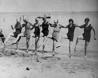 Women dancing on beach, Toronto, Canada. Early 1900's, Bathing Suits Photos
