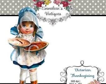 Vintage Shabby Victorian Thanksgiving Girl With Pumpkin Pies Baking Digital Download — Printable Ephemera
