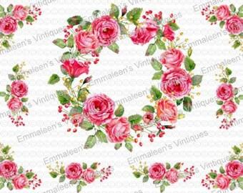 Shabby Pink Wreath Corners Swags Roses Peonies Flowers Waterslide Decals FL484