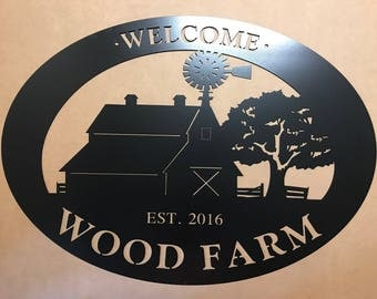 3ft Custom metal sign with BARN WINDMILL silhouette in oval