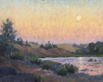 Umpqua moonrise - Original contemporary landscape painting - Oil Painting