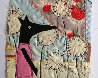 Fox and flowers  - Textile / fibre / embroidered / stitched wall art collage. Original appliqué and embroidery.