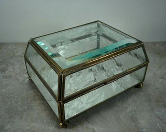 Vintage Etched Glass Floral Jewelry Box with Brass Edges and Mirrored Bottom