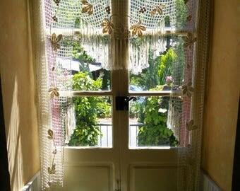 Art Deco Lace Curtain French Vintage Crochet Panel Filet Handmade Valance Pelmet