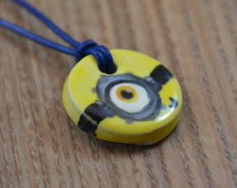 Minion Ceramic Medaillon on a Leather Necklace