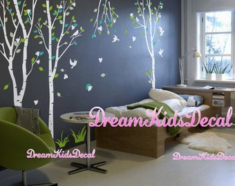 Birch Tree and Birds Wall Decal Sticker, Tree wall decal, White and Teal turquoise, Forest Nature Theme Flower Grass-DK057