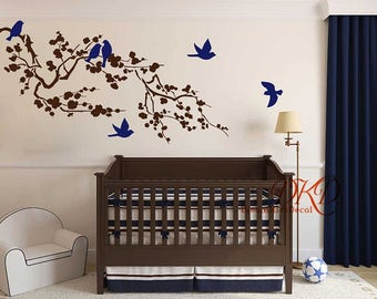 wall decal branch with flying birds vinyl baby wall decal nursery tree decal branch decal offfice wall decal-DK035