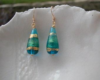 Aqua Murano Glass Teardrop Earrings