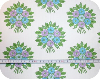 Floral retro vintage fabric with rose bouquets - blue, green and purple