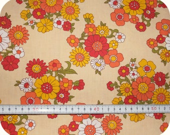 Floral retro vintage fabric - red, yellow and orange
