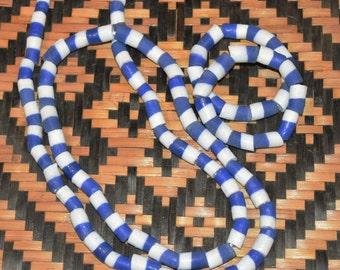 Yoruba Orisa Beads Yemoja Olokun Sandcast Glass Necklace Bracelet Set Thick Blue and White