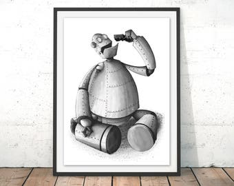 Iron Giant Print Robot Art Print Robot Illustration Toy Print Nursery Wall Art Robot Cartoon Robot Poster Robot Gift Painting