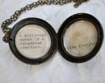 Brass Locket with Lisa Kleypas Quote