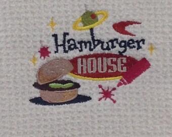 Hamburger House Microfiber Hand Towel - White