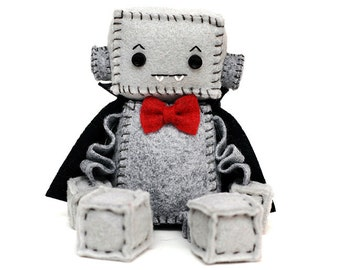 Vampire Plush Robot with Red Bow Tie and Black Cape, Halloween Dracula