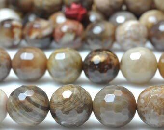 47 pcs of Natural United States Wood stone faceted  round beads in 8mm (06177#)